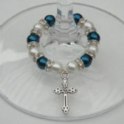 Detailed Cross Wine Glass Charm - Full Sparkle Style